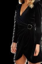 VELVET WRAP DRESS in colour CAVIAR
