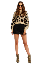 LEOPARD SLOUCH KNIT in colour JET BLACK
