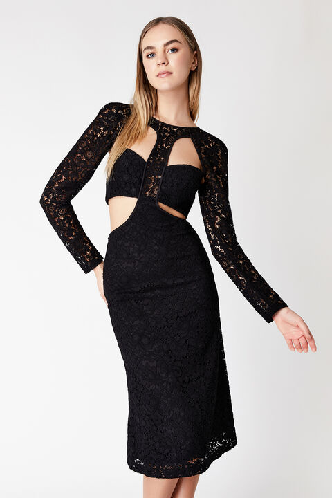 CUT OUT LACE PANEL DRESS in colour CAVIAR