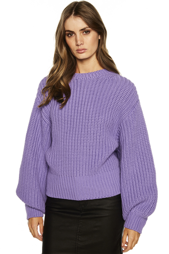 BALLOON SLEEVE KNIT in colour PASTEL LILAC