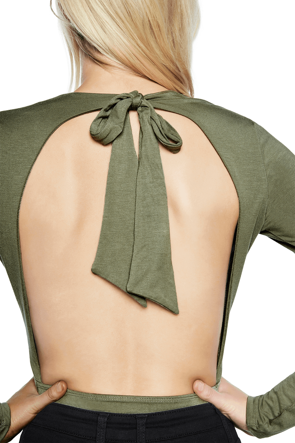 BACKLESS BODYSUIT in colour DEEP LICHEN GREEN
