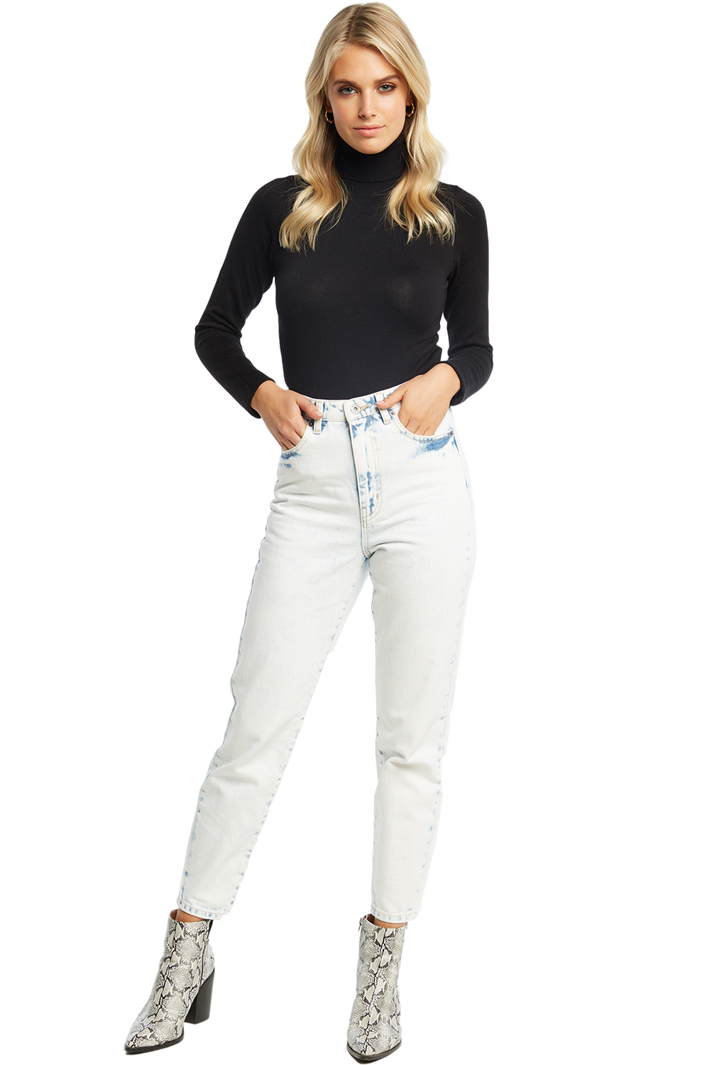ROLL NECK KNIT BODYSUIT in colour CAVIAR