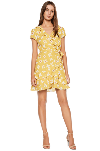 ABSTRACT DAISY DRESS in colour MISTED YELLOW