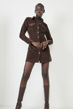 UTILITY CORD DRESS in colour CHOCOLATE BROWN