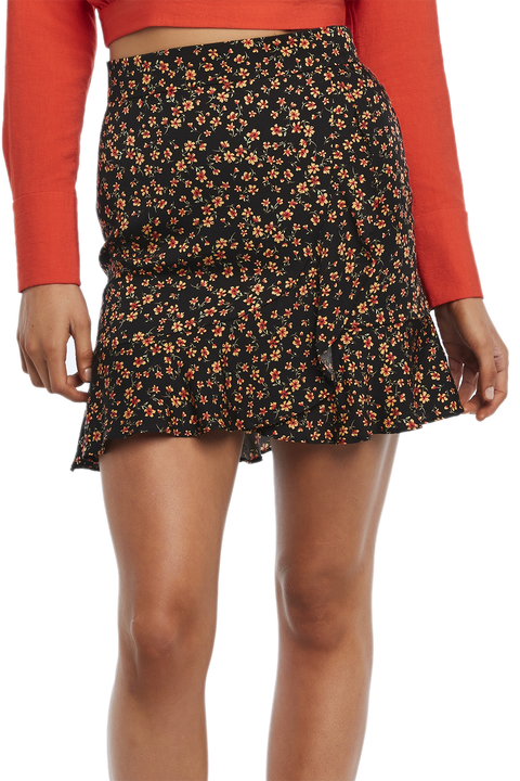 DITSY WRAP MINI SKIRT in colour CAVIAR