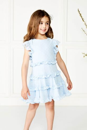 MARYAM FRILL DRESS GIRLS. in colour BALLAD BLUE