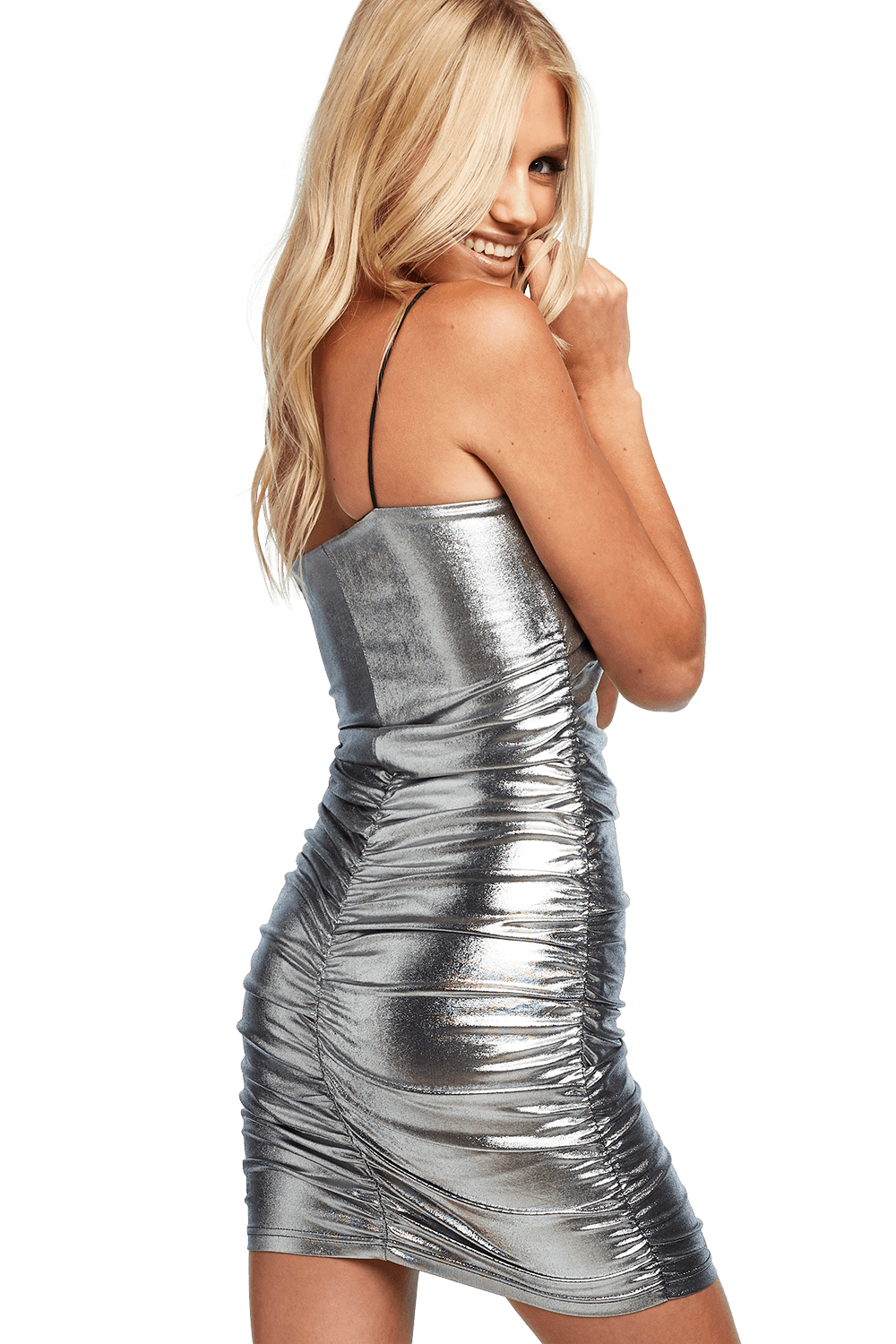 SILVER ROUCHED DRESS in colour SILVER