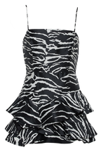 ZEBRA FRILL DRESS in colour CAVIAR