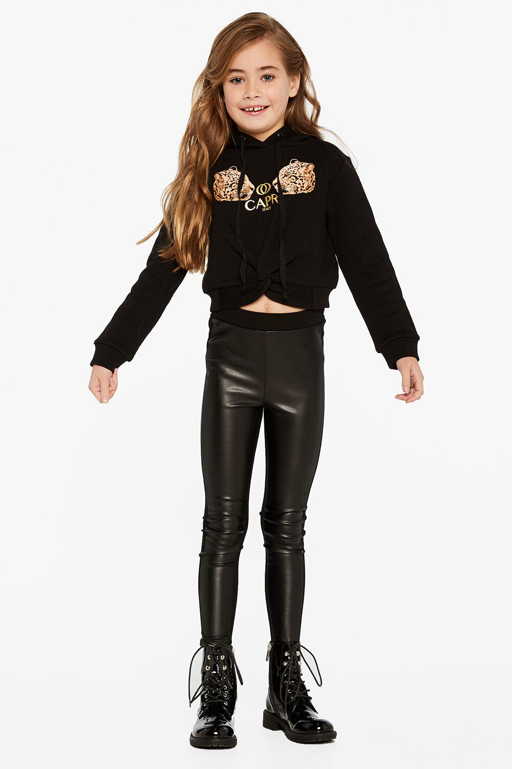 LEOPARD TWIST HOODIE in colour JET BLACK