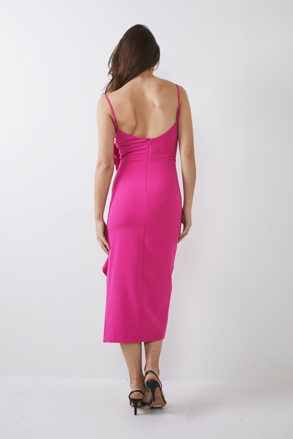 RONA MIDI DRESS in colour FUCHSIA PURPLE