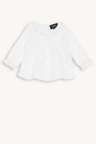 GIGI SMOCKED TOP in colour CLOUD DANCER
