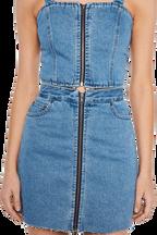 DENIM ZIP FRONT DRESS in colour CITADEL