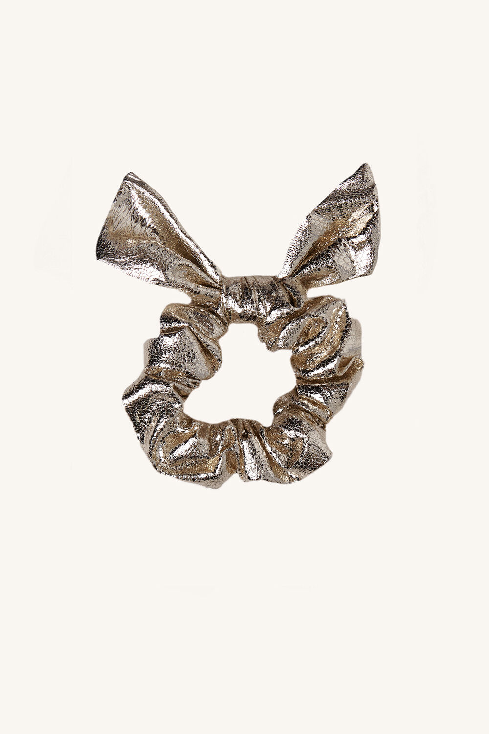 GOLD BOW HAIR SCRUNCHIE in colour GOLD EARTH