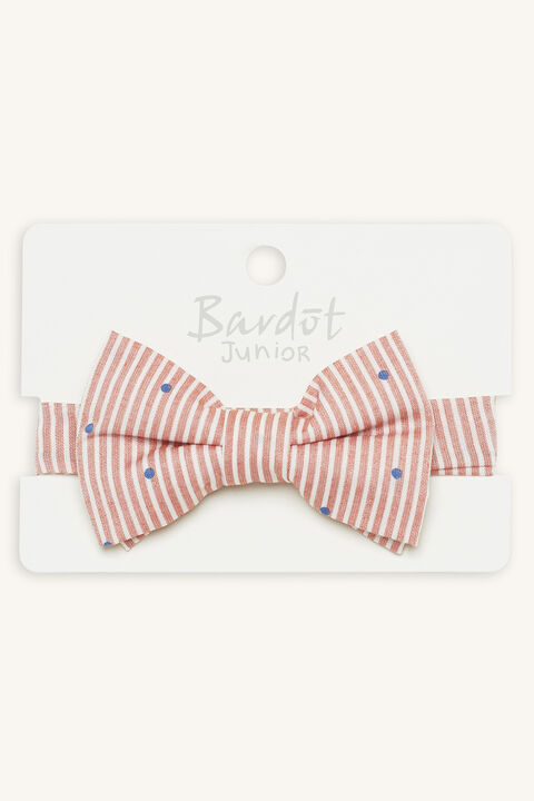 STRIPE & SPOT BOW TIE in colour RED BUD