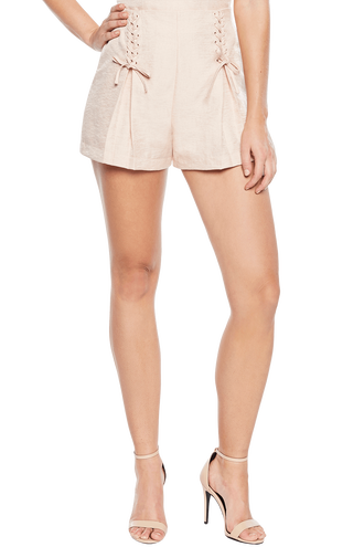 ABBEY LACE UP SHORT in colour CREAM TAN