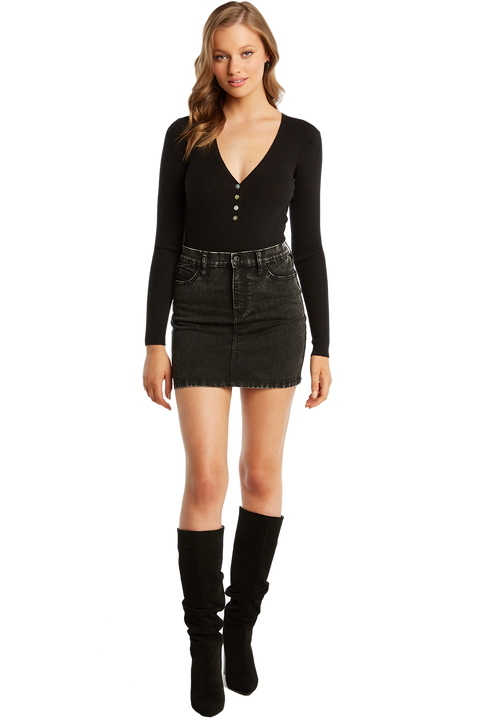 BUTTON UP RIB BODYSUIT in colour CAVIAR