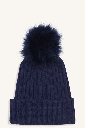 FAUX FUR POM BEANIE in colour BLACK IRIS