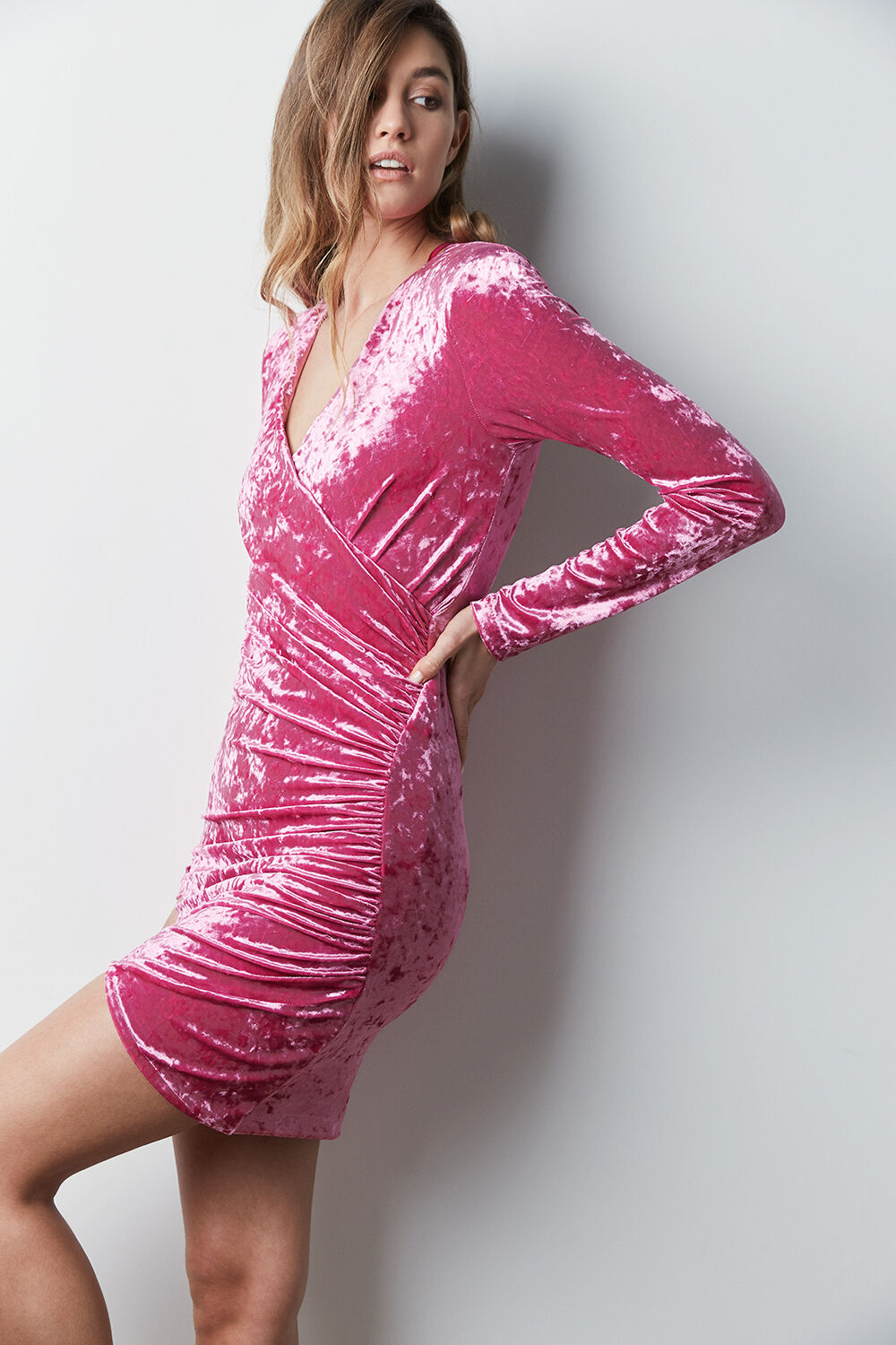 ISLA WRAP DRESS in colour BUBBLEGUM