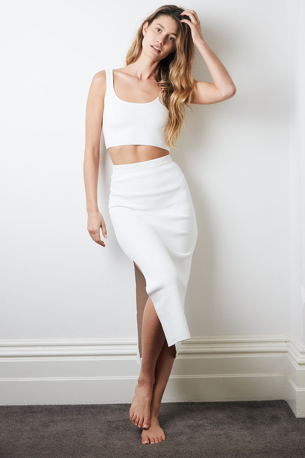 MARYANNE KNIT SKIRT in colour CLOUD DANCER