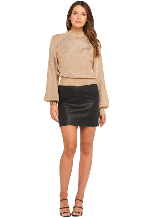 BELL SLEEVE LUREX KNIT in colour CARAMEL