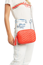 QUILTED HIP BAG in colour RED BUD