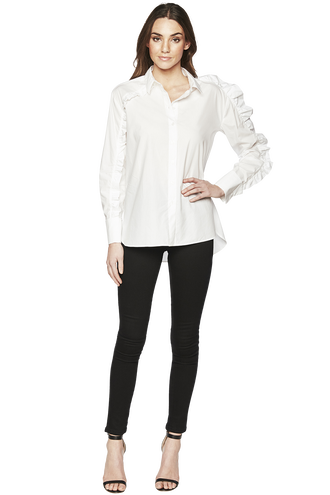 FRILL SHIRT in colour BRIGHT WHITE