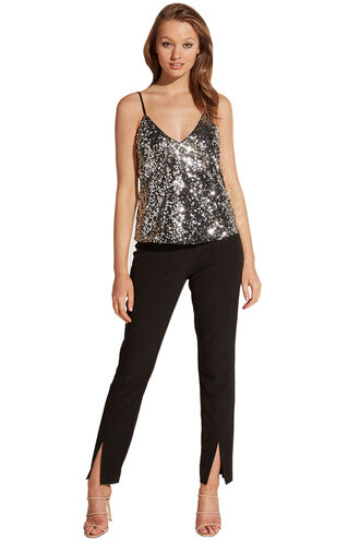 SILVER SEQUIN CAMI in colour LUNAR ROCK