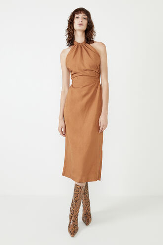 THE GRECIAN MIDI DRESS in colour TAN