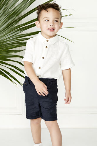 LINEN CHINO SHORT in colour BLACK IRIS