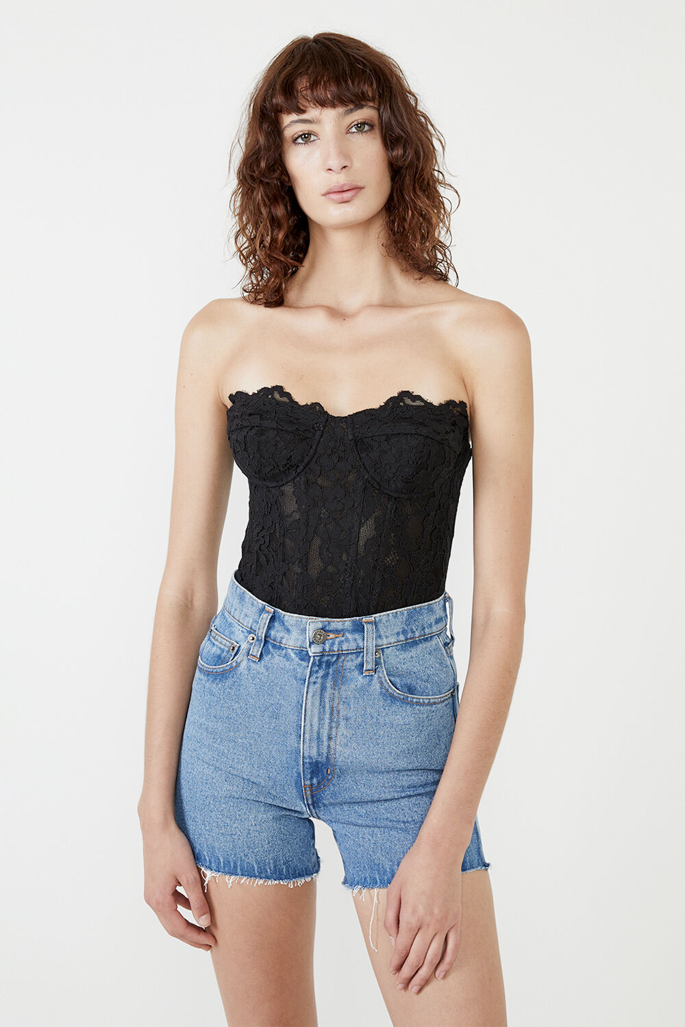 OSKAR LACE BODYSUIT  in colour CAVIAR