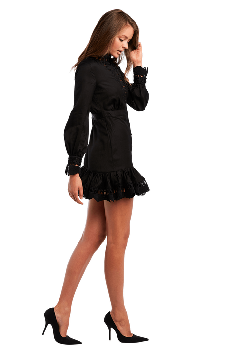 TRISTA MINI DRESS in colour CAVIAR