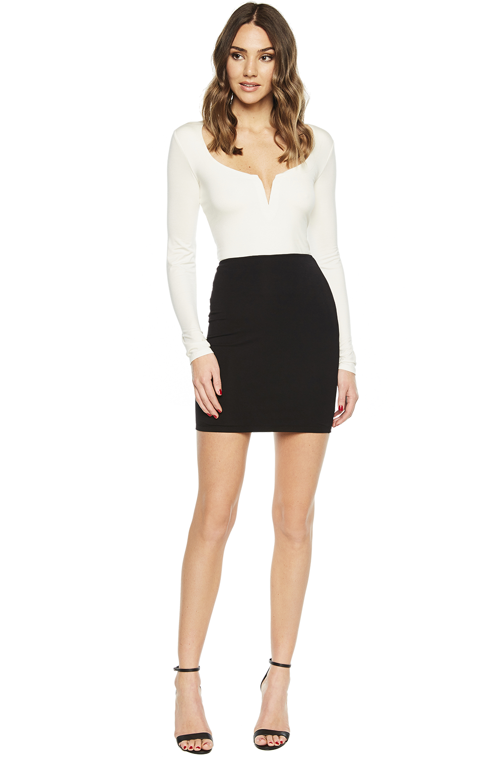 SHANIA BASIC LONG SLEEVE TOP in colour SNOW WHITE