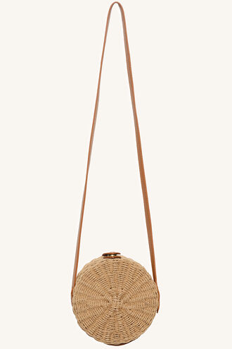 ROUND STRAW HIP BAG in colour TAN