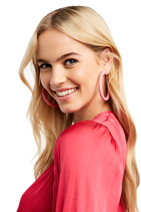 THICK HOOP EARRINGS in colour HOT PINK
