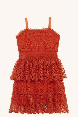 DEVON LACE DRESS in colour MANDARIN RED
