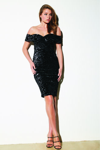 SEQUIN VELVET DRESS in colour CAVIAR