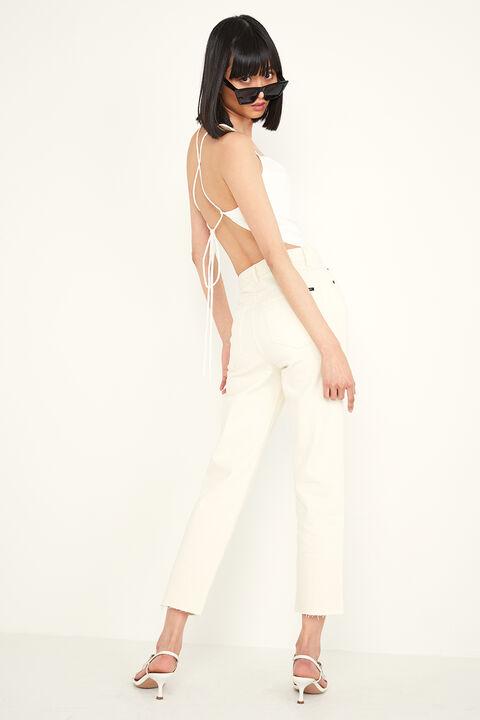 CINDY LINEN STRAPPY TOP in colour BRIGHT WHITE