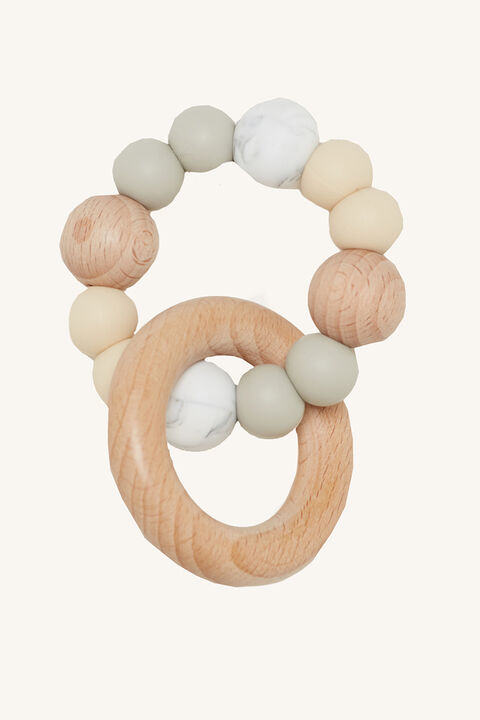 SINGLE RATTLE SILICONE & BEECHWOOD TEETHER in colour LIGHT GRAY