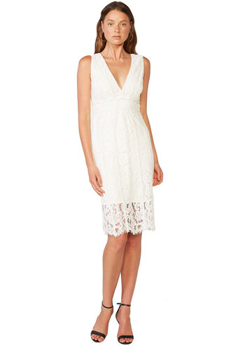 HALTER LACE DRESS in colour CLOUD DANCER