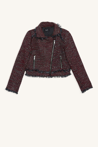 SKYLAR BOUCLE BIKER in colour TAWNY PORT
