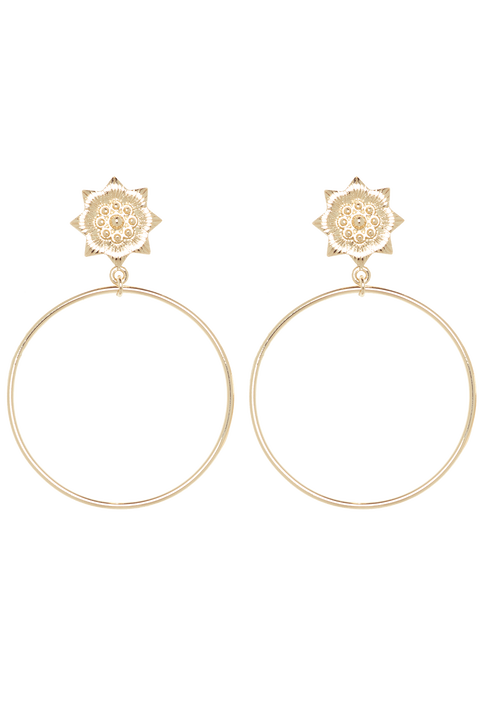 FLOWER HOOP in colour GOLD EARTH