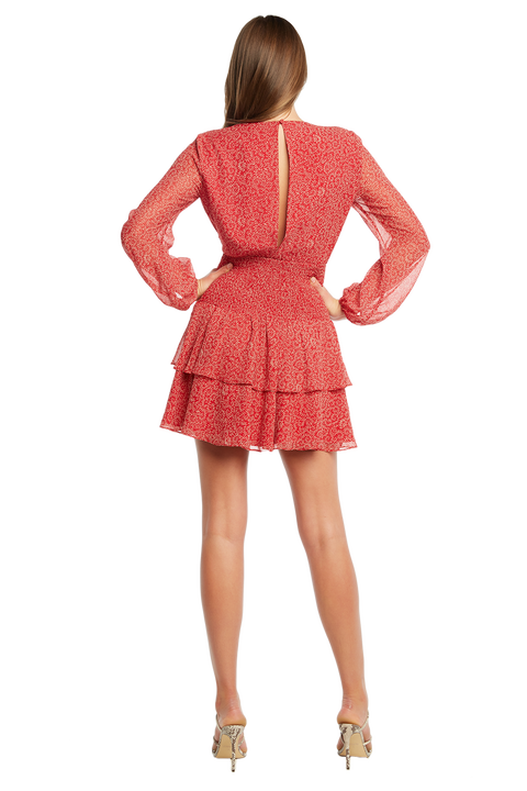 DITSY SHIRRED DRESS in colour SKI PATROL