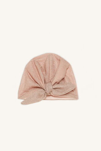 LUREX BOW BABY HEADWRAP in colour PINK CARNATION