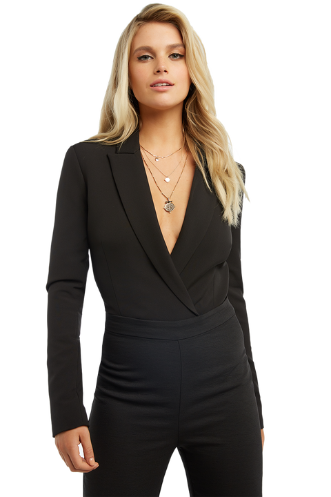 BLAZER BODYSUIT in colour CAVIAR