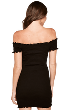 OFF SHOULDER DRESS in colour CAVIAR