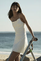 LINEN HALTER DRESS in colour BRIGHT WHITE