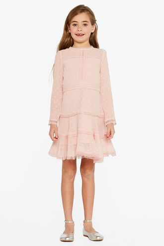 LEYTON DOBBY DRESS in colour PEACH BLUSH