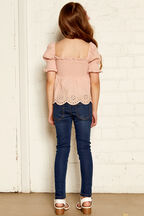 LIESEL SHIRRED TOP in colour PRAIRIE SUNSET