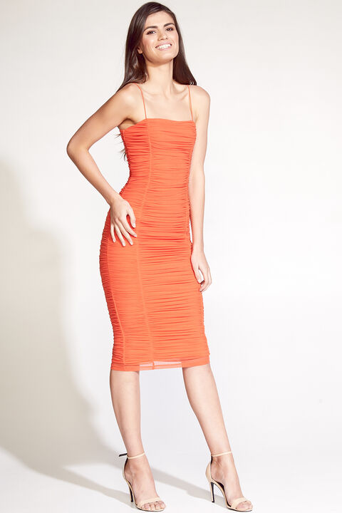 TAMIKA MESH DRESS in colour SPICY ORANGE