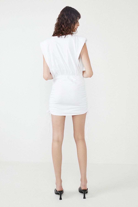 TONI SHOULDER PAD MINI DRESS in colour ORCHID BLOOM